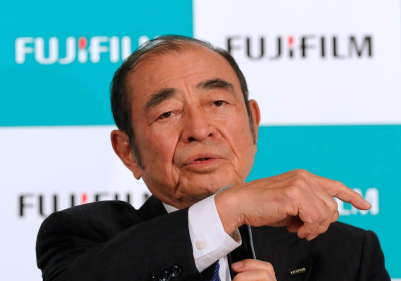 Fujifilm Holdings' Chief Executive Officer Shigetaka Komori speaks at a news conference in Tokyo
