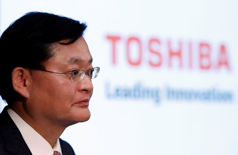 FILE PHOTO: Toshiba Corp's CEO Kurumatani attends a news conference in Tokyo