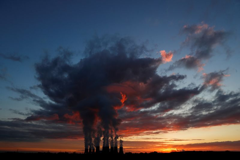 FILE PHOTO: Sunset over Drax power station in North Yorkshire