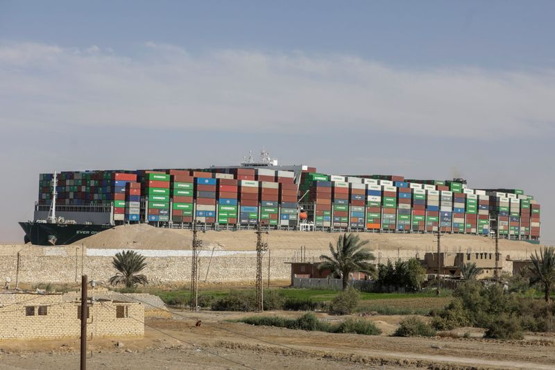 FILE PHOTO: Ship Ever Given, one of the world's largest container ships, is seen after it was fully floated in Suez Canal