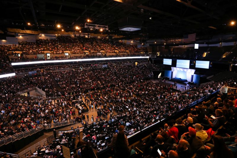 Shareholders gather to hear from billionaire investor Warren Buffett at Berkshire Hathaway Inc's annual shareholder meeting in Omaha