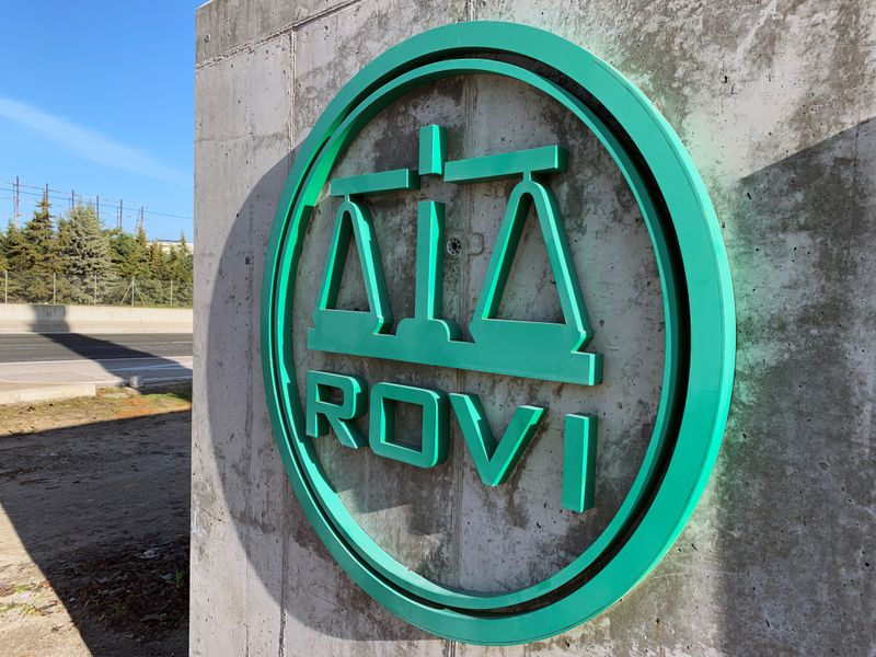 FILE PHOTO: The logo of Spanish pharmaceutical firm Rovi, in charge of the
