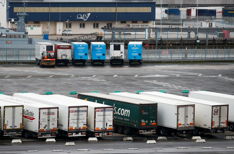 FILE PHOTO: Hauliers steer clear of UK land bridge as Brexit reshapes Ireland-EU supply chains