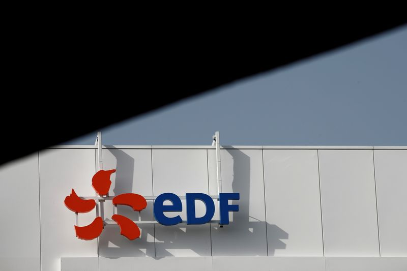 The company logo for Electricite de France (EDF) is seen in Paris