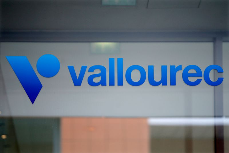 The company's logo is seen on top of the entrance of French oil industry tubing maker Vallourec at Boulogne-Billancourt, near Paris