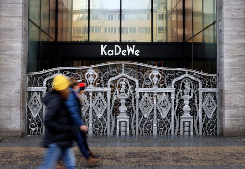 The closed main entrance of KaDeWe department store is  pictured amid the coronavirus disease (COVID-19) pandemic during lockdown in Berlin