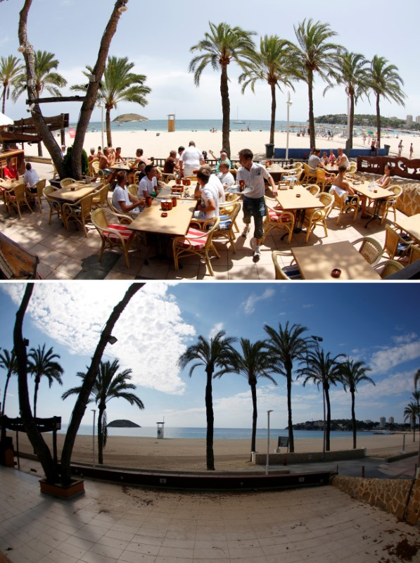 FILE PHOTO: A combination photo shows tourists in a terrace at the beach of Magaluf, July 22, 2011, and the beach empty during the coronavirus disease (COVID-19) outbreak in Magaluf