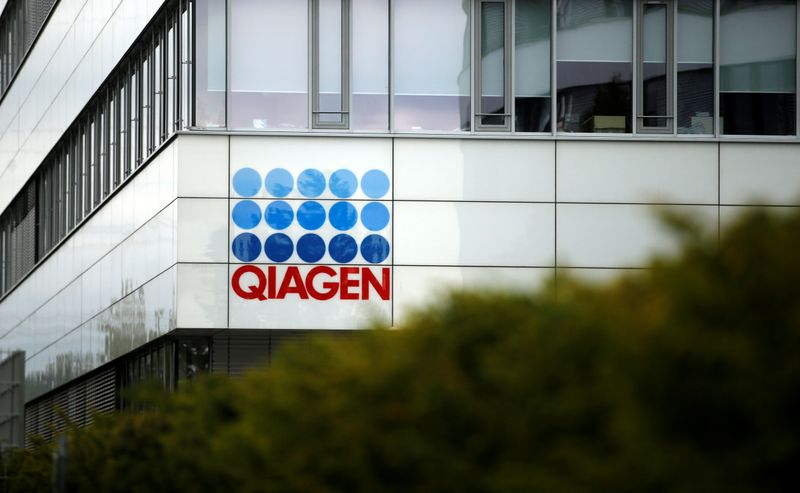 Economy Minister Andreas Pinkwart and Health Minister Karl-Josef Laumann of the German state Northrhine Westphalia visit a testing company Qiagen, in Hilden