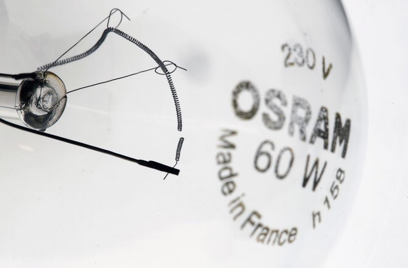 Broken filament of a lightbulb by lighting manufacturer Osram is pictured in Zurich