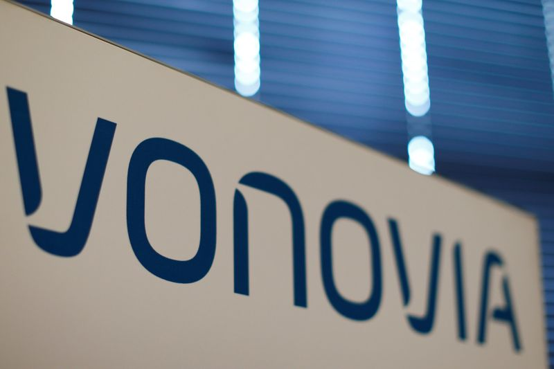 A logo of German real estate company Vonovia, is pictured during a news conference in Duesseldorf