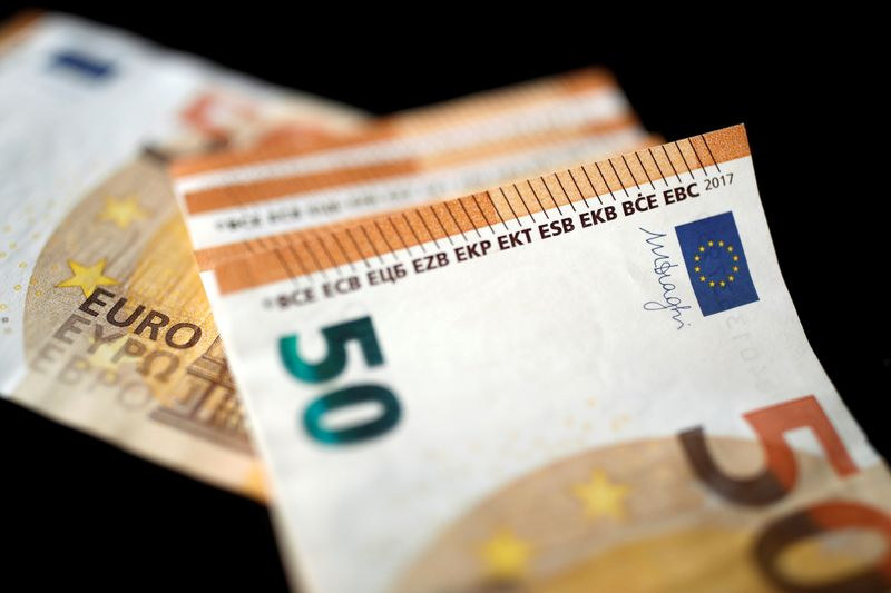 50 Euro banknotes are displayed in this picture illustration